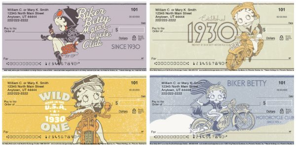 Betty Boop Motorcycle Club Personal Checks