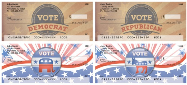 Vote Democrat Checks Vote Republican Checks