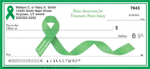 Brain Injury Awareness Green Ribbon Personal Checks