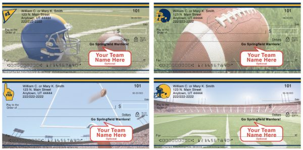 Blue and Gold Team Spirit Personal Checks