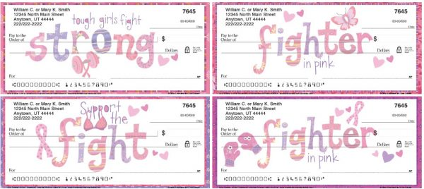 Breast Cancer Awareness Fighter in Pink Personal Checks