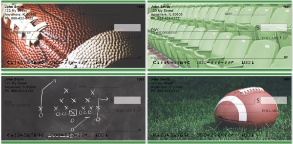 Green and White Football team color personal checks