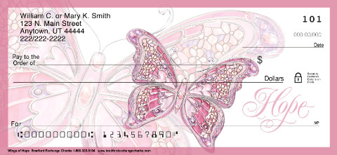 Pink On the Wings of Hope Personal Checks