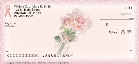 pink ribbon hope springs eternal roses personal checks