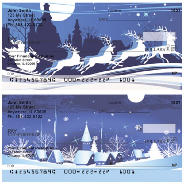 Santa`s Blue Christmas Personal Checks