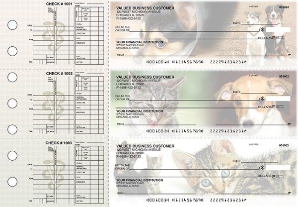 Dogs and Cats 3-on-a-Page Checks