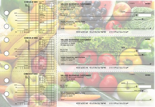 Fresh Produce 3-on-a-Page Checks