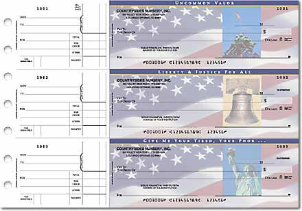 Stars and Stripes 3-on-a-Page Checks