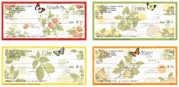 Botanical Fruits and Butterflies Personal Checks