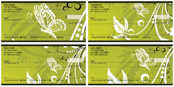 Butterflies On Green Personal Checks