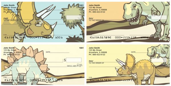 Cute & Friendly Dinosaurs Personal Checks