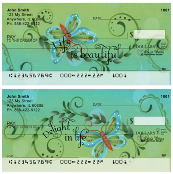 Designer Butterfly Swirls Checks by Lorrie Weber