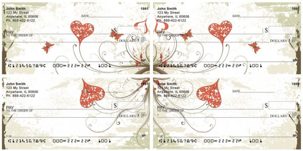 Hearts and Butterflies Personal Checks