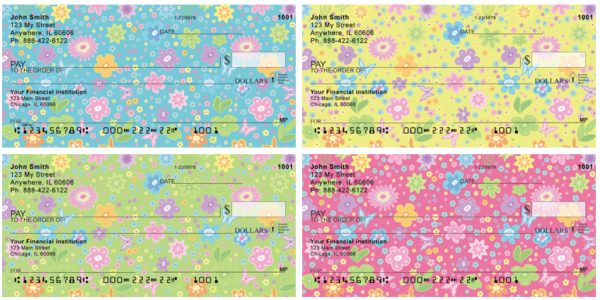 Spring Flowers and Butterflies Checks