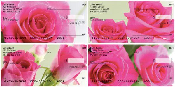 Pink Roses Personal Checks