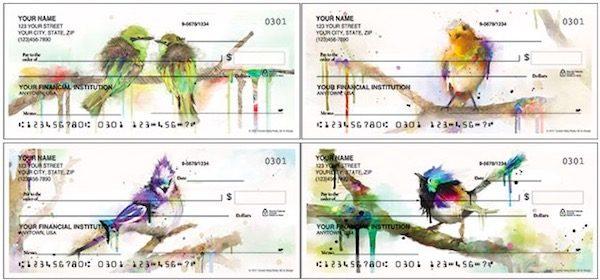 Watercolor Birds Checks