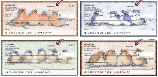 Robins, Blue Jays, Cardinals and Finches Checks