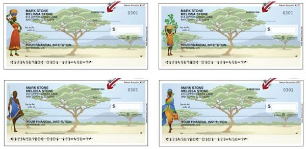 African Silhouettes Personal Checks