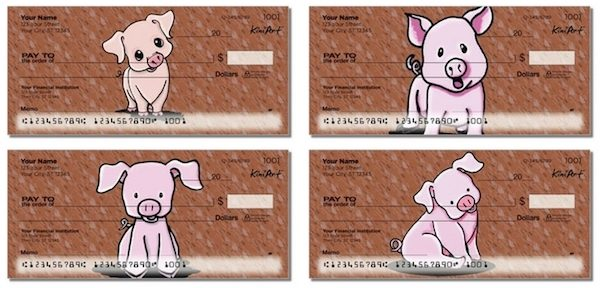 Cute Cartoon Pigs Personal Checks