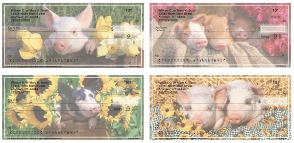 Flower Pigs Personal Checks