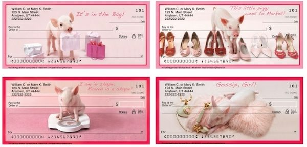 Girly Dress Up Pigs Personal Checks
