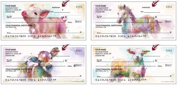 Watercolor Pigs Personal Checks