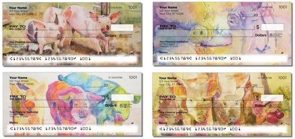Splash of Watercolor Pigs Personal Checks