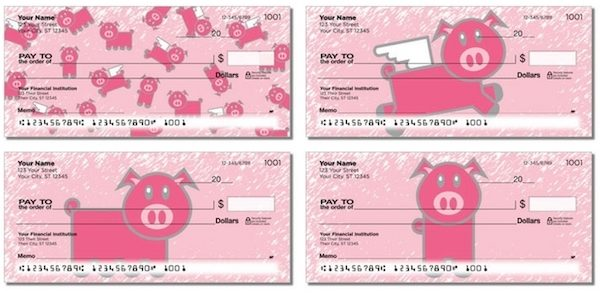 Pretty Pink Pigs Personal Checks