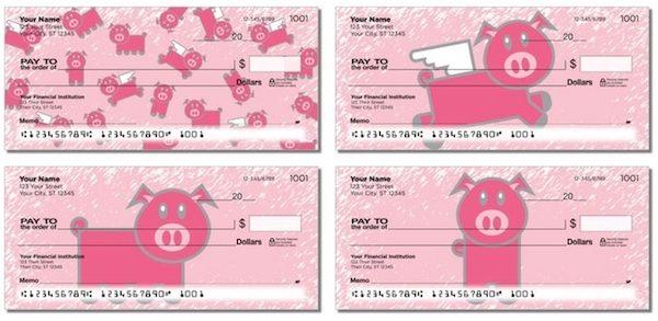 Pretty Pink Pigs Personal Checks
