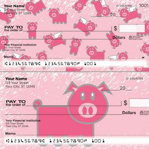 Flying pig pink checks