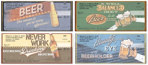 Bottom's Up Beer Personal Checks