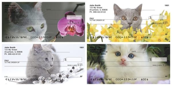 Flowers and Felines Personal Checks