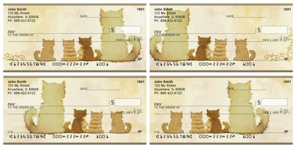 Four Cats with Sitting Down Personal Checks