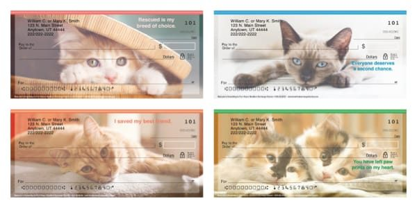 Rescued is Something to Purr About Kitten and Cat Personal Checks
